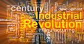 Word cloud concept illustration of industrial revolution glowing light effect poster