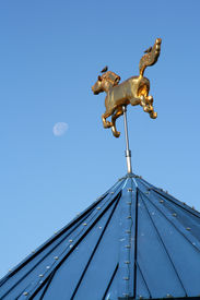 Golden Horse And Moon