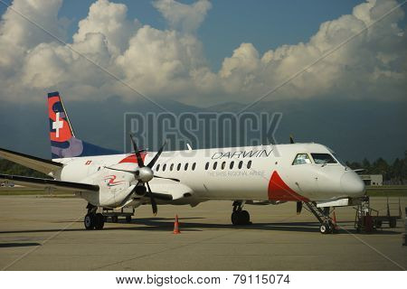 GENEVA - SEP 15: Darwin Airline aircraft on September 15, 2014 in Geneva, Switzerland. Darwin Airline, operating under the brand name Etihad Regional since January 2014