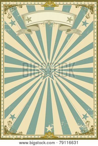 vintage certificate blue background. A vintage poster with sunbeams for your advertising.