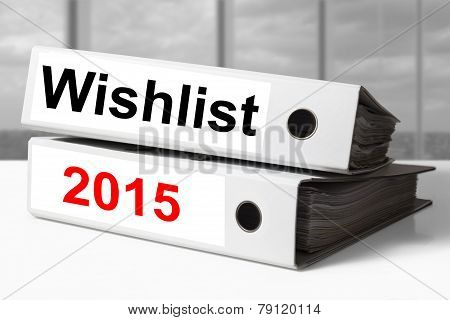stack of white office binders wishlist 2015 poster