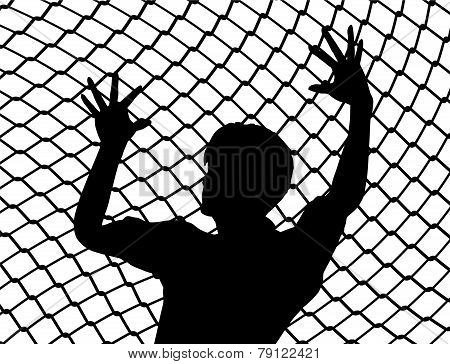 Destitute person behind the fence as prisoner of war symbol poster