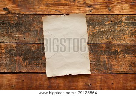 Old Blank Paper Nailed To A Barn Door
