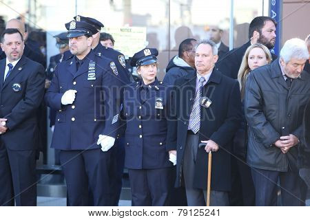 NYPD officers outside chapel