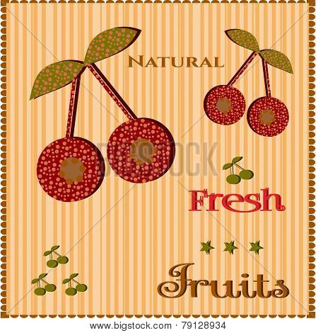 Cherries on striped background