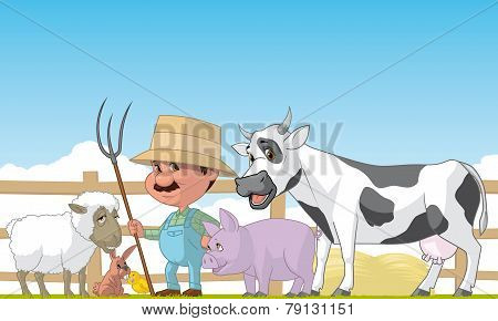 Farmer And Animals