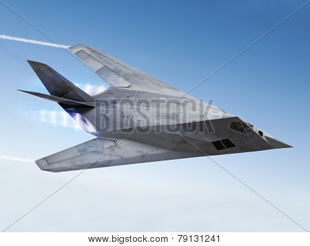 Stealth aircraft streaking through the sky with afterburners and vapor trails poster
