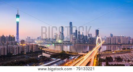 Guangzhou Panorama In Nightfall
