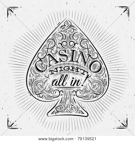 Sign spades in vintage style lettering casino night all in poster