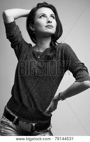 Gorgeous model looking up medium shot black and white