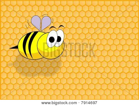 Honey cell background and a funny bee flying poster