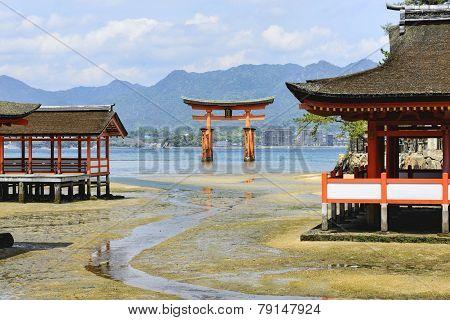 Floating Torii Gate In Itsukushima Shrine, Japan