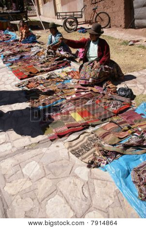 Quechua Indian Woman Sell Colorful Handmade Blankets