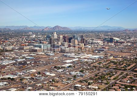 Aerial view of Downtown Phoenix Arizona Skyline looking to the northeast poster