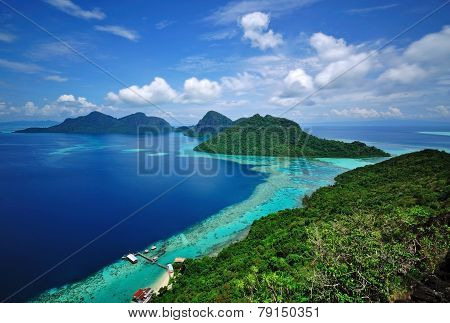 Scenic view of an island in Sabah Borneo Malaysia, Semporna Marine Park. poster