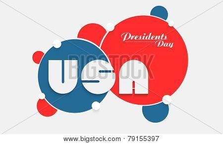 United State America text on national flag color circles for Presidents Day celebration on white background.