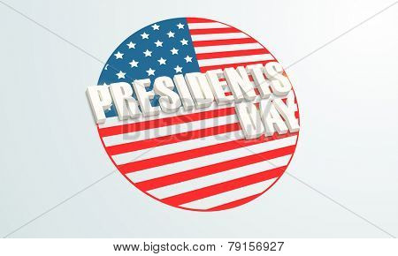 3D text Presidents Day on United State American flag color, can be used as sticker, tag or label.
