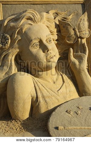 Atlantic City, NJ-July 28, 2014: World Cup Sand Sculpting event brought in artist from around the world, including Pavel Mylnikov, from Russia. Mr. Mylnikov work shows some amazing detail to his work.