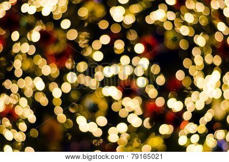 Abstract Circular Bokeh Background Of Christmas Day And New Year's Eve Light