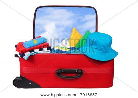 Travel Red Suitcase Packed For Vacation