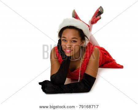 Smiling Woman In Red Santa Hat