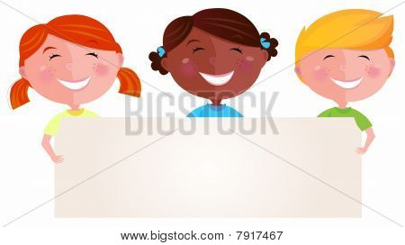 Cute multicultural children holding a blank sign for your message