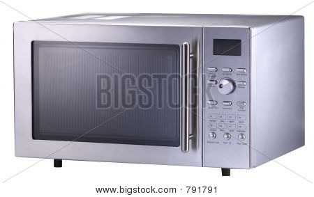 A modern StainlessSteel Microwave oven shot over white. poster