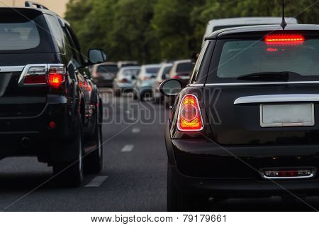 Traffic Jam With Many Cars On Express Way In Bangkok