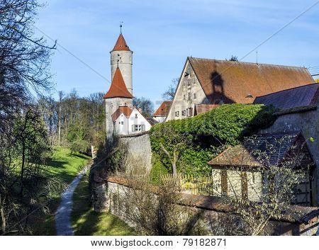 Segringer Gate In Famous Old Romantic Medieval Town Of Dinkelsbuehl In Bavaria