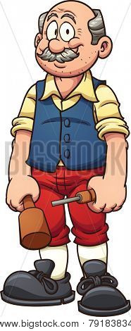 Old cartoon wood carver. Vector clip art illustration with simple gradients. All in a single layer.