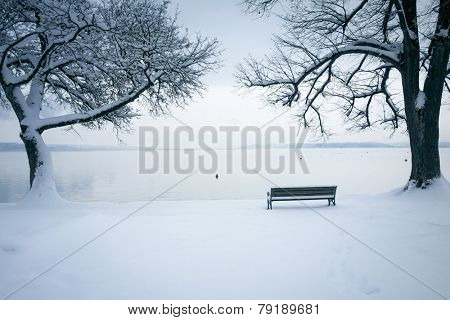 An image of Tutzing at Starnberg Lake covered in snow