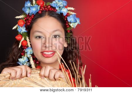 Summer Woman With Straw Hat