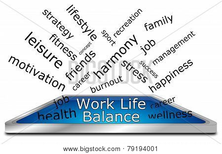 work life balance wordcloud on white background poster
