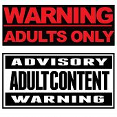 """Two typohgraphical warnings: """"Warning. Adults only."""" """"Advisory. Adult content. Warning."""" poster"""