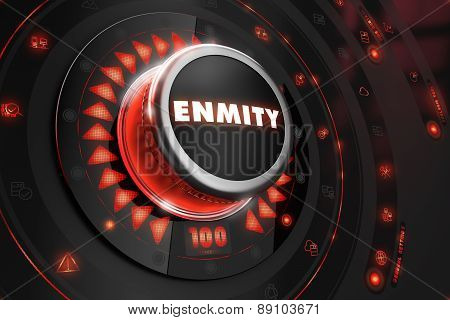 Enmity Controller on Black Control Console with Red Backlight. Danger or Risk Control Concept. poster