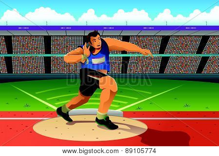 A vector illustration of shot putter in a shot put competition for sport competition series poster