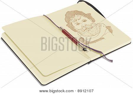 Open Sketchbook With Pen