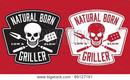 Natural Born Griller barbecue vector image with skull and crossed utensils.