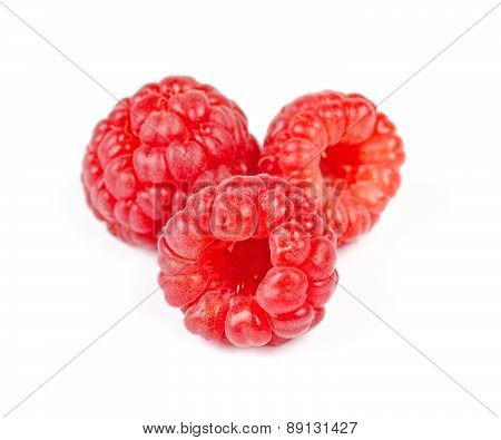 Heap Of Juicy Red Ripe Raspberry, Isolated On White