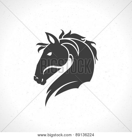 Horse face logo emblem template mascot symbol for business or shirt design. Vector Vintage Design Element.