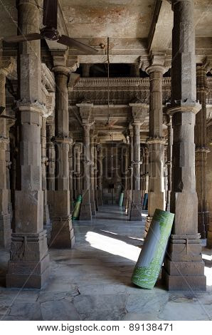 Ahmedabad, India - December 28, 2014: Interior Of Jama Mosque In Ahmedabad
