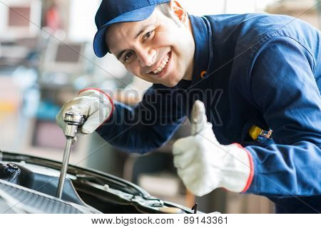 Mechanic repairing a car