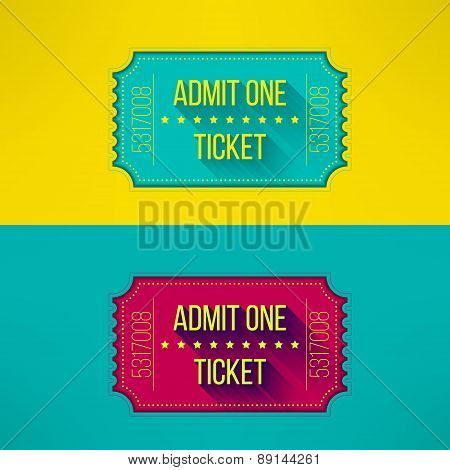 Entry ticket in modern flat design with long shadow. Admit one cinema, theater, zoo, festival, carni