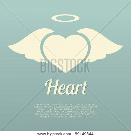 Single Heart Wings With Halo Symbol.