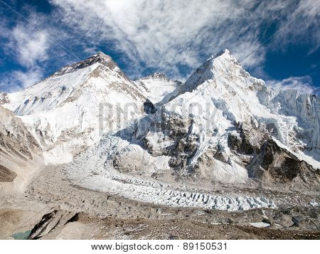 View of Mount Everest Lhotse and Nuptse from Pumo Ri base camp - way to Mount Everest base camp - Sagarmatha national park - Nepal poster