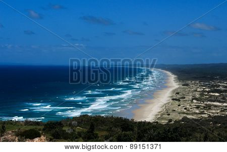 Aerial Moreton Island beach Australia