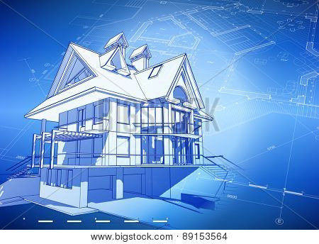 Architecture design: blueprint 3d house, plan & blue technology background