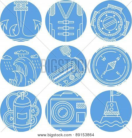 Marine elements round vector icons set