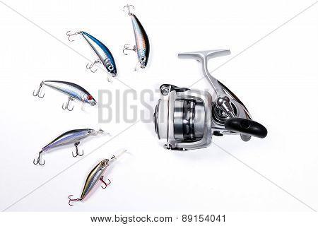 Fishing Reel With Plastic Fishing Baits.
