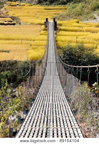 Rope Hanging Suspension Bridge In Nepal